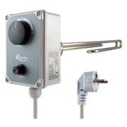 Topné těleso poniklované 1f s termostatickou hlavicí, do zásuvky, typ M